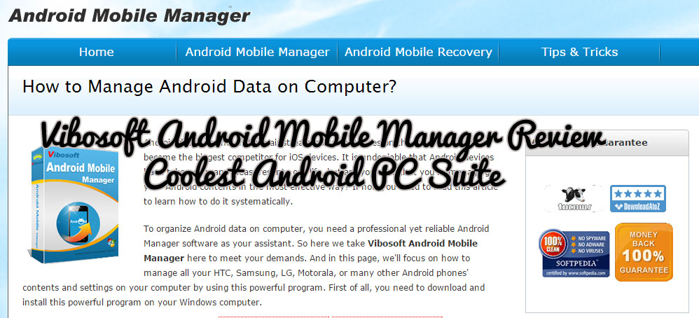 Vibosoft Android Mobile Manager Review – Coolest Android PC Suite