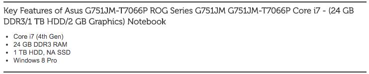Asus G751JM-T7066P ROG Series G751JM