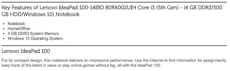 Lenovo IdeaPad 100-14IBD 80RK002UIH