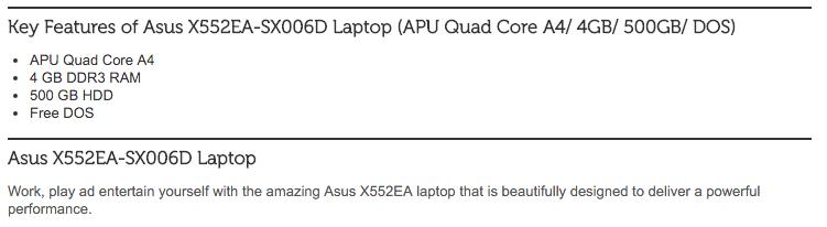 Asus X552EA-SX006D: